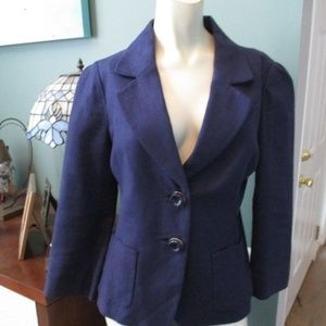 Kate Spade Navy Blue Linen Blend Blazer Jacket 6 8